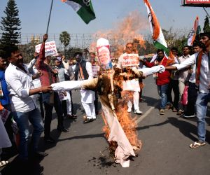 Congress party members staged a protest against rising fuel prices in Patna on Saturday 27th February 2021