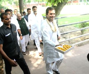 Congress President Rahul Gandhi arrives to attend the Congress Working Committee (CWC) meeting at the party's headquarters, in New Delhi, on June 19, 2019.