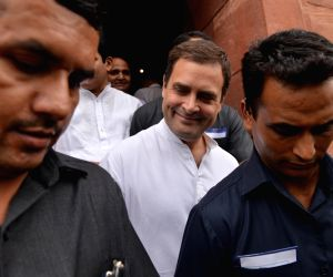 Congress President Rahul Gandhi at Parliament in New Delhi on July 20, 2018. He took everyone in the Lok Sabha by surprise when he went and hugged Prime Minister Narendra Modi after ...