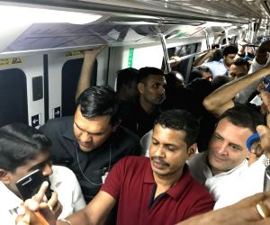 Rahul Gandhi during a metro ride