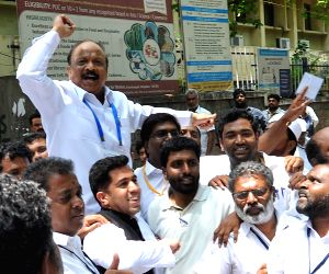 Karnataka Assembly elections -  Congress' R Roshan Baig celebrates