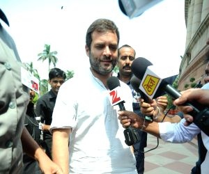 Rahul Gandhi talks to media at the Parliament
