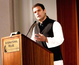 Congress vice president Rahul Gandhi addresses the event 'India at 70: Reflections on the Path Forward' at the University of California, Berkeley on Sept 12, 2017.