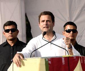 Sanand (Gujarat): Rahul Gandhi during a public meeting