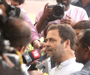Congress Vice President Rahul Gandhi talks to the press at the All India Congress Committee (AICC) office in New Delhi on Nov 16, 2017.