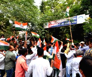 Congress workers stage a protest outside Central Bureau of Investigation (CBI) office against the central government's move to strip CBI Director Alok Verma of his power, in Patna, on Oct 26, ...