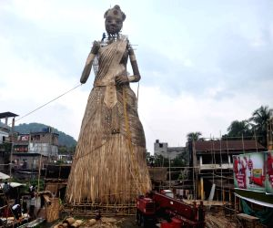 Construction of the tallest ever bamboo idol of Goddess Durga underway