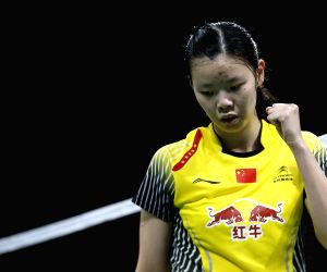 COPENHAGEN, Aug 29, 2014 (Xinhua) -- Li Xuerui celebrates during the Women's Singles Quarter Finals match against Saina Nehwal of India on Day 5 of Li Ning BWF World Championships 2014 at Ballerup Super Arena in Copenhagen, Denmark on Aug 29, 2014. L