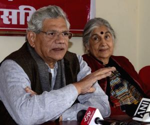 CPI-M General Secretary Sitaram Yechury addresses a press conference in Bhopal, on Jan 16, 2019.