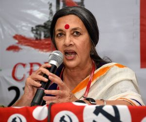 CPI-M leader Brinda Karat addresses a press conference in Hyderabad on April 21, 2018.