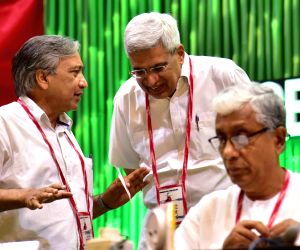 CPI-M leaders Prakash Karat, Manik Sarkar and Pinarayi Vijayan at the 22nd CPI-M party Congress, in Hyderabad on April  22, 2018.