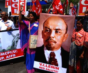 CPI-M demonstration against demolition of Lenin's statue