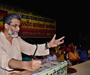 CPI-ML General Secretary Dipankar Bhattacharya addresses during a party meeting in Patna, on June 10, 2018.