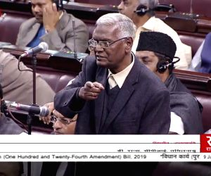 CPI MP D. Raja speaks in the Rajya Sabha, Parliament House, on Jan 9, 2019.