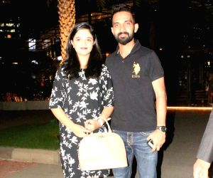 Ajinkya Rahane and Radhika Dhopavkar seen at a restaurant