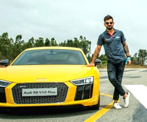 Virat at the launch of Audi R8 V10 Plus