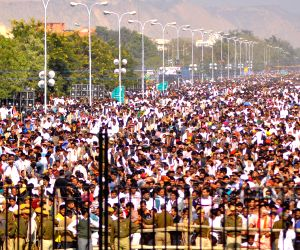Crowd gathers during swearing-in ceremony of Vasundhara Raje