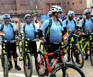 CRPF Jawans after pay homage at Jallianwala Bagh to mark the 75th Independence Day, a cycle rally of reached in Amritsar