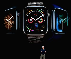 CUPERTINO, Sept. 13, 2018 - Tim Cook, CEO of Apple, speaks about the Apple Watch Series 4 at the Steve Jobs Theater during an event to announce new Apple products in Cupertino, the United States, on ...