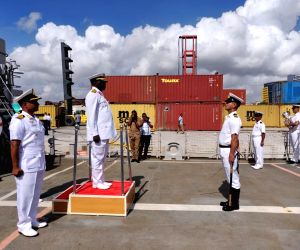 Dar-es-Salaam: Commander of the Tanzanian Navy Rear Admiral R.M. Makanzo receives the Guard of Honour during a four-day port of call to the African nation where he received four indigenous Indian ...