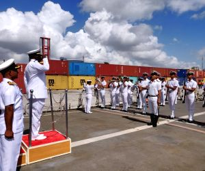 Dar-es-Salaam: Commander of the Tanzanian Navy Rear Admiral R.M. Makanzo receives the Guard of Honour during a four-day port of call to the African nation where he received four indigenous Indian ships, in Tanzania's Dar-es-Salaam on Oct 14, 2019. Th