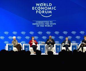 DAVOS, Jan. 25, 2019 - International Monetary Fund (IMF) Managing Director Christine Lagarde (1st, L), World Bank Chief Executive Officer Kristalina Georgieva (2nd, L), South African Reserve Bank ...