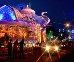 Durga Puja preparations - Chalta Bagan