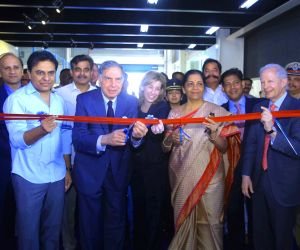 Defence Minister Nirmala Sitharaman,  US Ambassador to India Kenneth I. Juster,  Telangana IT Minister K.T. Ramarao and Tata Group Chairman Ratan Tata  during the inauguration of Tata ...