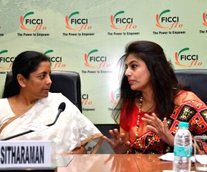 Defence Minister Nirmala Sitharaman with  Pinky Reddy, President of FICCI Ladies Organisation (FLO) at the launch of Gender Parity Index report in New Delhi on May 7, 2018.
