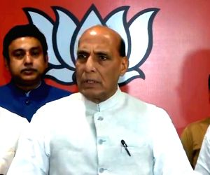 Defence Minister Rajnath Singh briefs media after BJP Parliamentary Board meeting from party headquarters in New Delhi on June 17, 2019. The BJP on Monday announced Jagat Prakash Nadda as ...