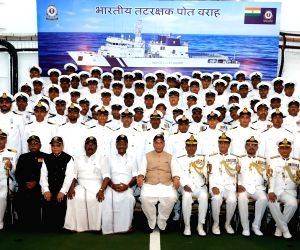 Defence Minister Rajnath Singh, Tamil Nadu Deputy Chief Minister O. Panneerselvam and ICG Director General K. Natarajan at the Commissioning Ceremony of the Indian Coast Guard Ship (ICGS) ...