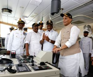 Defence Minister Rajnath Singh with Tamil Nadu Deputy Chief Minister O. Panneerselvam at the Commissioning ceremony of the Indian Coast Guard Ship (ICGS) Varaha in Chennai, on Sep 25, 2019.
