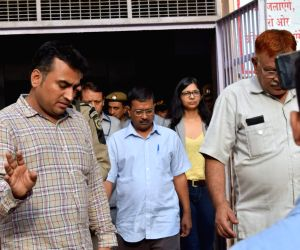 Delhi Chief Minister Arvind Kejriwal and Delhi Commission for Women (DCW) chief Swati Maliwal at Safdarjung Hospital to meet the minor raped in West Delhi's Janakpuri area; on July 17, ...
