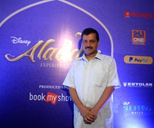 Kejriwal, Manish Sisodia attend a special show of Disney's Aladdin