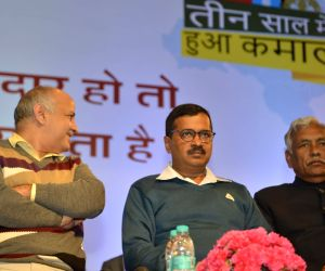 Delhi Chief Minister Arvind Kejriwal, Deputy Chief Minister Manish Sisodia with Delhi Speaker Ram Niwas Goel during a programme organised on completion of three years of Delhi Government, ...