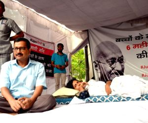 Delhi Chief Minister Arvind Kejriwal meets Delhi Commission for Women (DCW) Chairperson Swati Maliwal who is sitting on an indefinite hunger strike to press for death penalty for rapists ...