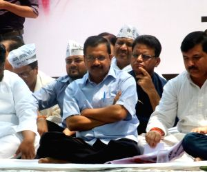 Arvind Kejriwal at a protest meeting