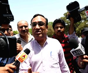 Ajay Maken talks to press