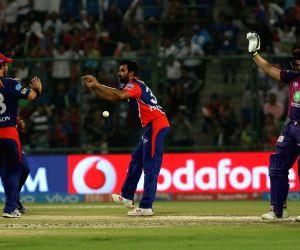 Delhi Daredevils captain Zaheer Khan celebrates wicket of Rahul Tripathi