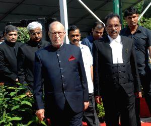 Delhi Lieutenant Governor Anil Baijal with the Chief Justice of Delhi High Court Justice Rajendra Menon.(File Photo: IANS)