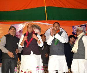 Rajnath Singh addressing an election rally