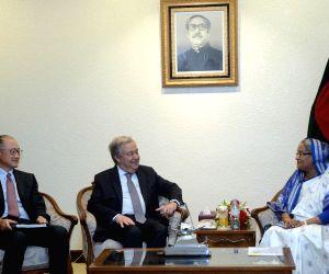 DHAKA, July 1, 2018 - Bangladeshi Prime Minister Sheikh Hasina (R) meets with United Nations Secretary-General Antonio Guterres (C) and World Bank President Jim Yong Kim in Dhaka, Bangladesh, on July ...