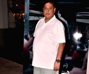 """Director David Dhawan during the special screening of film """"Omerta"""" and also director Hansal Mehta's birthday bash in Mumbai on April 29, 2018."""