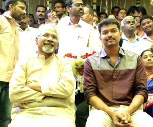 Director Mani Ratnam and actor Vijay at Shanthanu Bhagyaraj-Keerthi wedding ceremony in Chennai.