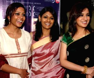 Director Nandita Das with Actress Shahana Goswami and Tisca Chopra during a Press-meet for promotion her film