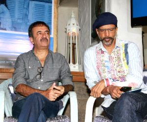 Director Rajkumar Hirani and actor Javed Jaffrey during a press announcement for 'Films For Change' initiative organised by Good Pitch India in Mumbai on March 14, 2018.