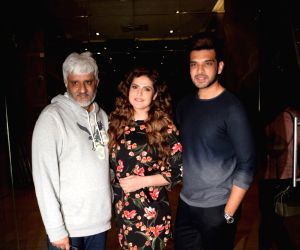 "Director Vikram Bhatt, actor Karan Kundra and Zareen Khan at the screening of film ""1921"" in Mumbai on Jan 11, 2018."