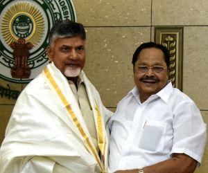 DMK leader Durai Murugan calls on Andhra Pradesh Chief Minister and TDP President N. Chandrababu Naidu at the state Secretariat in Amaravati, on May 14, 2019.