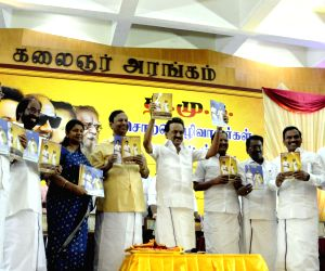 DMK President MK Stalin with party leaders Kanimozhi, A. Raja and other leaders of the party at the launch of the party's election manifesto ahead of 2019 Lok Sabha elections in Chennai, on ...