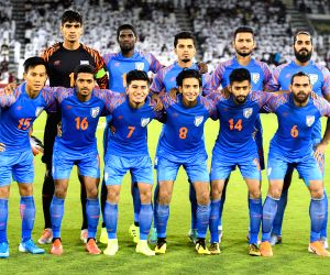 DOHA, Sept. 11, 2019 - Players of India pose before the FIFA World Cup Qatar 2022 and AFC Asian Cup China 2023 Preliminary Joint Qualification second round Group E football match between Qatar and ...